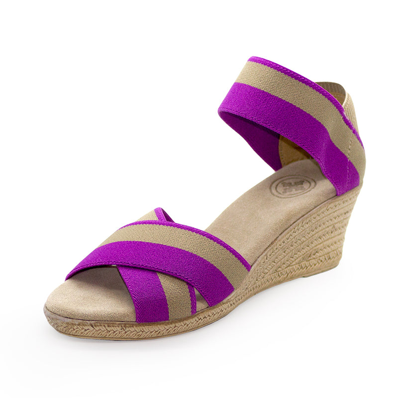Cannon Two-Tone purple sandals wedges | Charleston Shoe Company