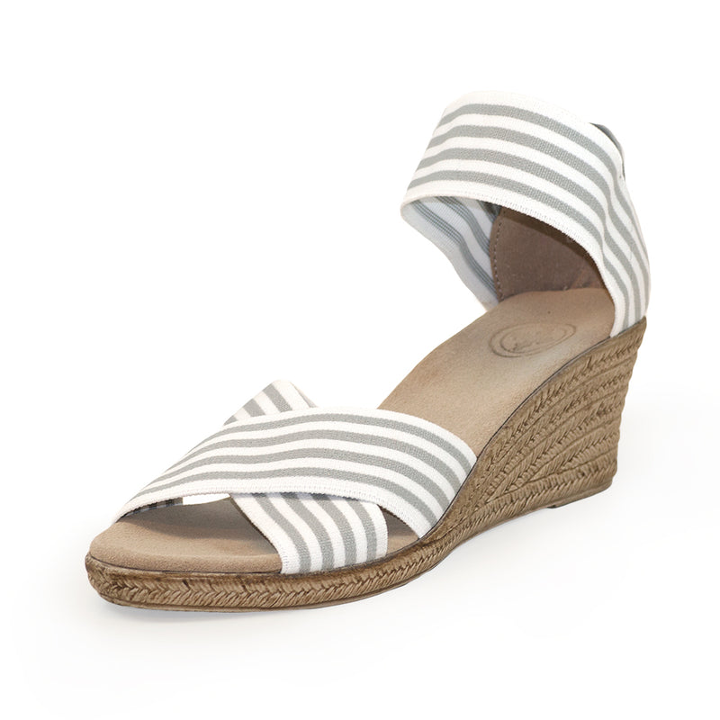 Cannon Stripe, white and grey stripe wedges | Charleston Shoe Company