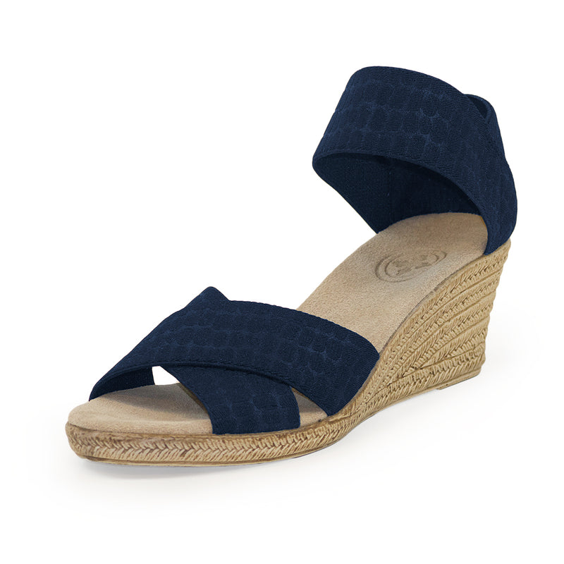 Cannon Solid - black wedge sandals | Charleston Shoe Company