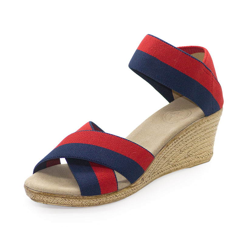 Cannon Two-Tone navy blue and red sandal wedges - Charleston Shoe Company