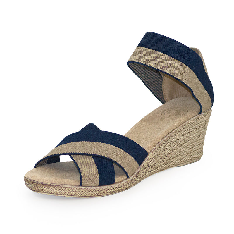 Cannon Two-Tone navy sandal wedges | Charleston Shoe Company