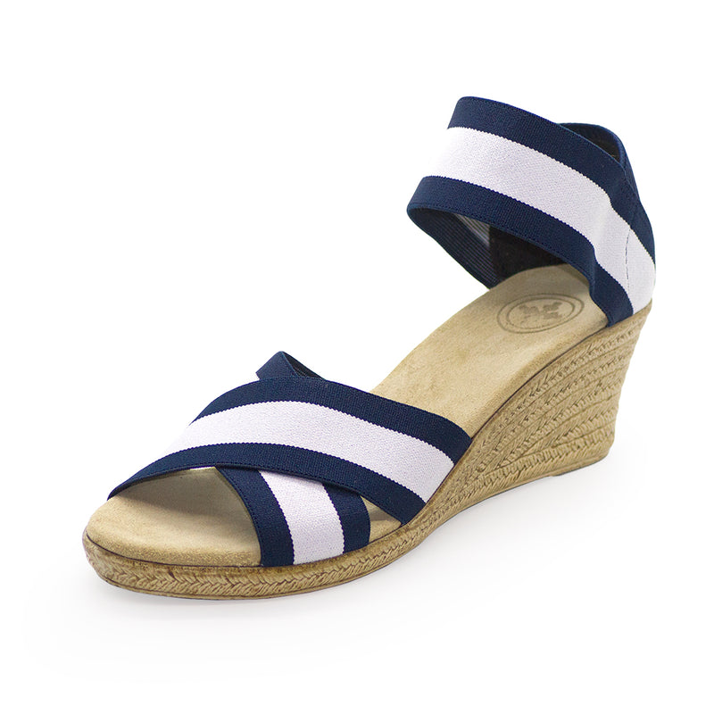 Cannon Two-Tone navy blue sandal wedge | Charleston Shoe Company