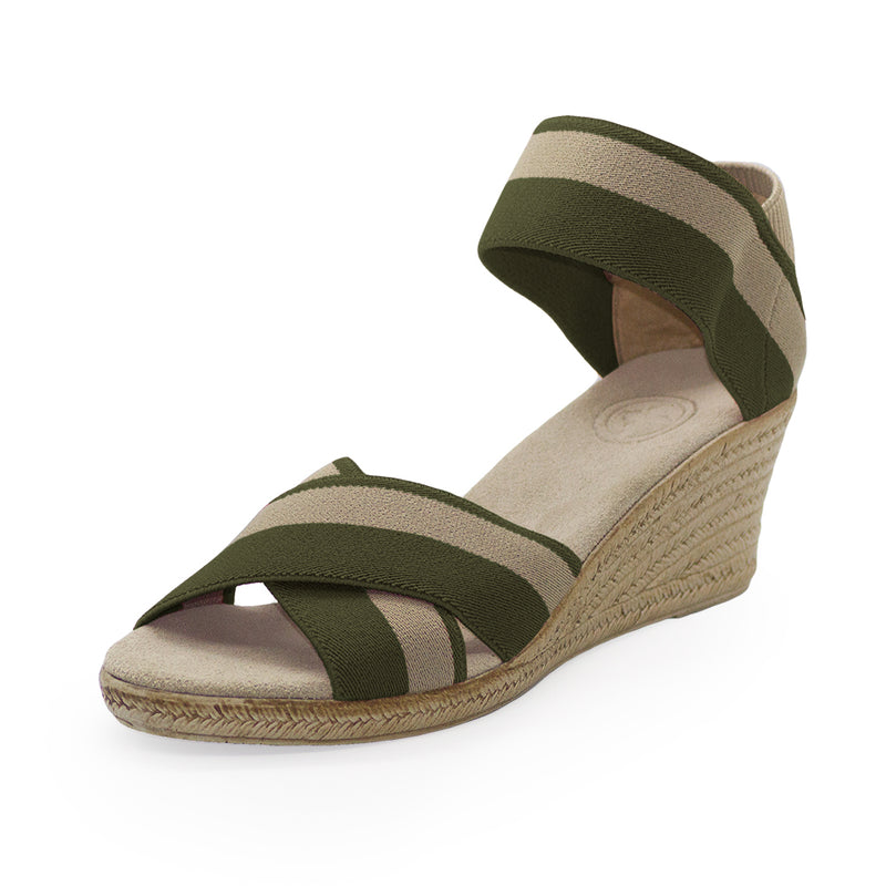 Cannon Two-Tone olive green sandal wedge | Charleston Shoe Company