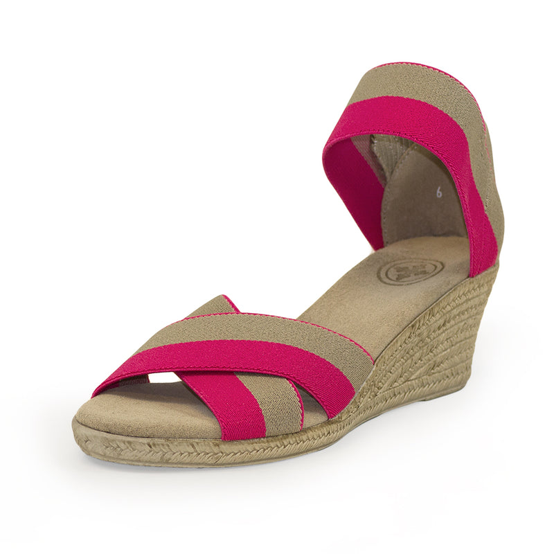 Cannon Two-Tone hot pink sandal wedges | Charleston Shoe Company