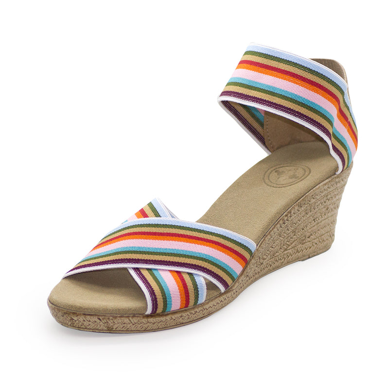 Cannon Stripe - cork wedges sandals | Charleston Shoe Company