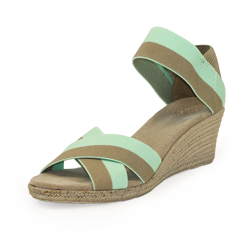 Cannon Two-Tone teal sandal wedges | Charleston Shoe Company