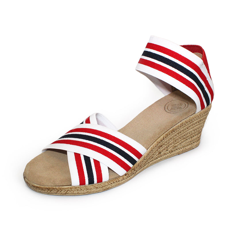 Cannon Stripe, red and white strip wedge sandal | Charleston Shoe Company