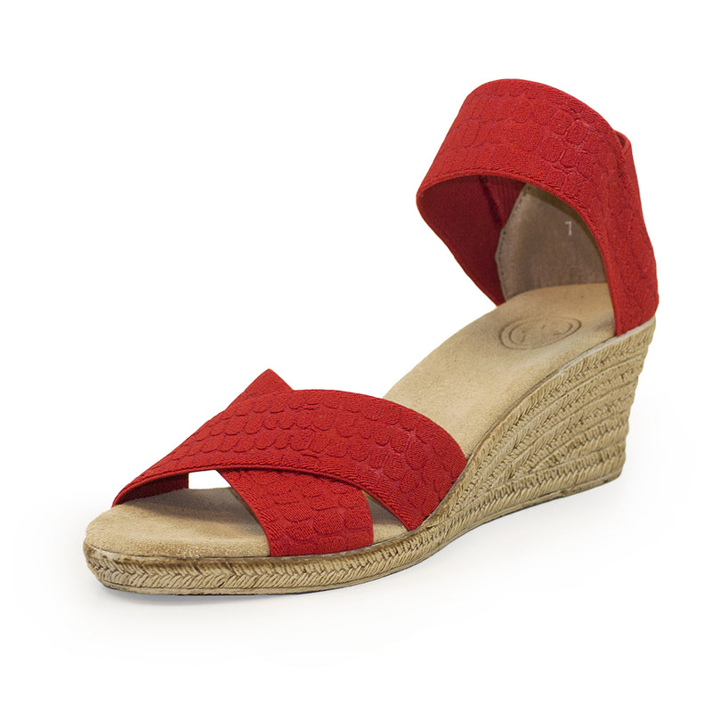 Cannon Solid - red sandal - cork sandals wedge | Charleston Shoe Company