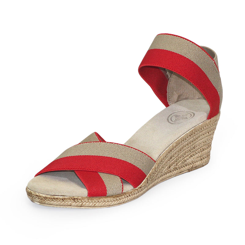 Cannon Two-Tone red sandal wedges | Charleston Shoe Company