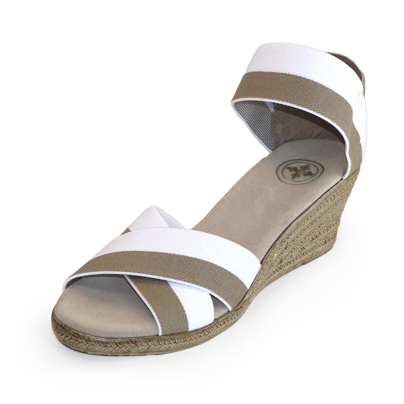 Cannon Two-Tone white sandal wedges | Charleston Shoe Company
