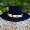 Wide Brim Coin Wool Hat