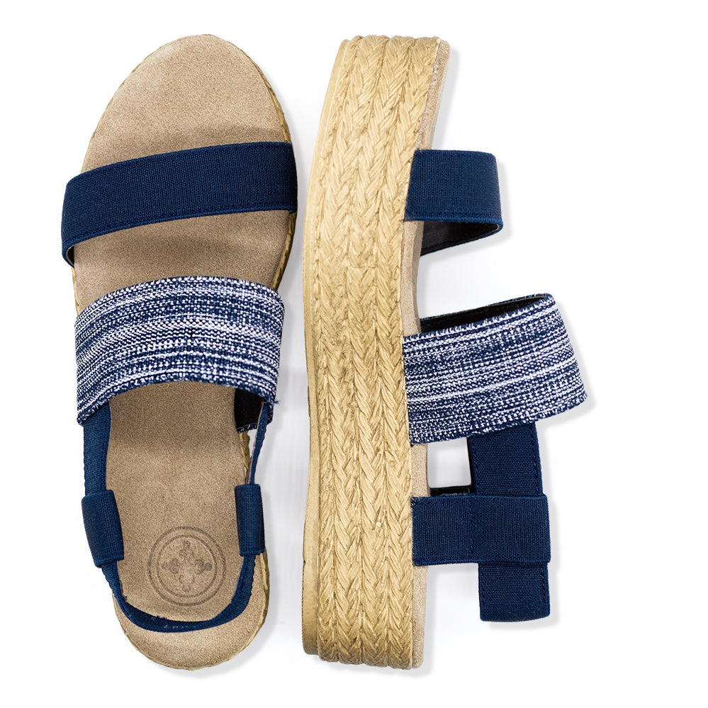 Espadrille platform sandals, navy flatform sandals  | Charleston Shoe Company