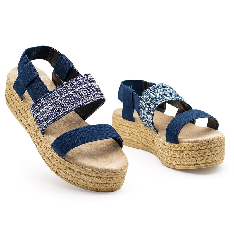 Navy Blue platform flatform sandals, espadrille platform sandal  | Charleston Shoe Co