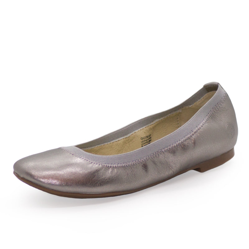 Gigi, silver closed toed shoes, silver ballet flats | Charleston Shoe Company