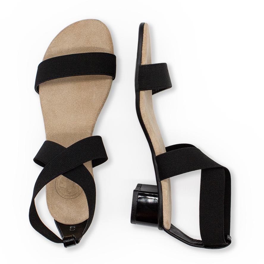 Extremely comfortable black stretch fabric bunion friendly heels cocktail shoes