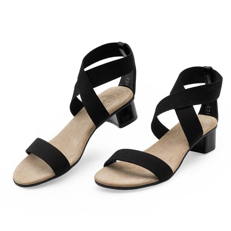 Strappy black heels - bunion friendly cocktail shoes