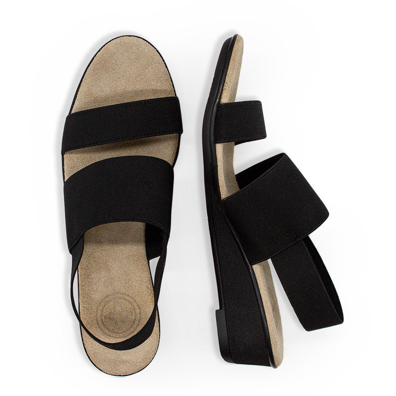 Black strappy sandals wedges for women