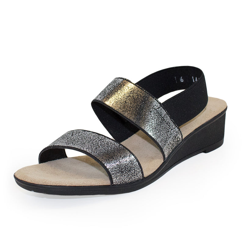 black shimmer glitter sandals wedges