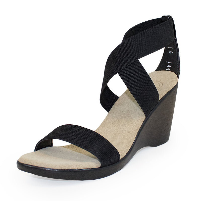 Black strappy comfortable bunion friendly wedges shoes