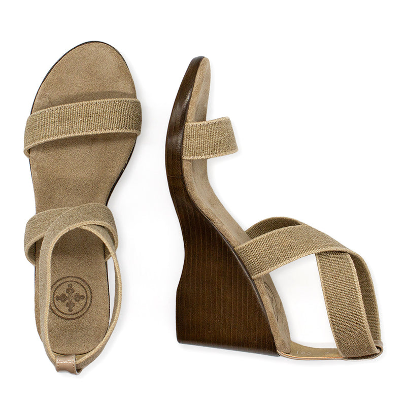 Linen tan wedge sandals