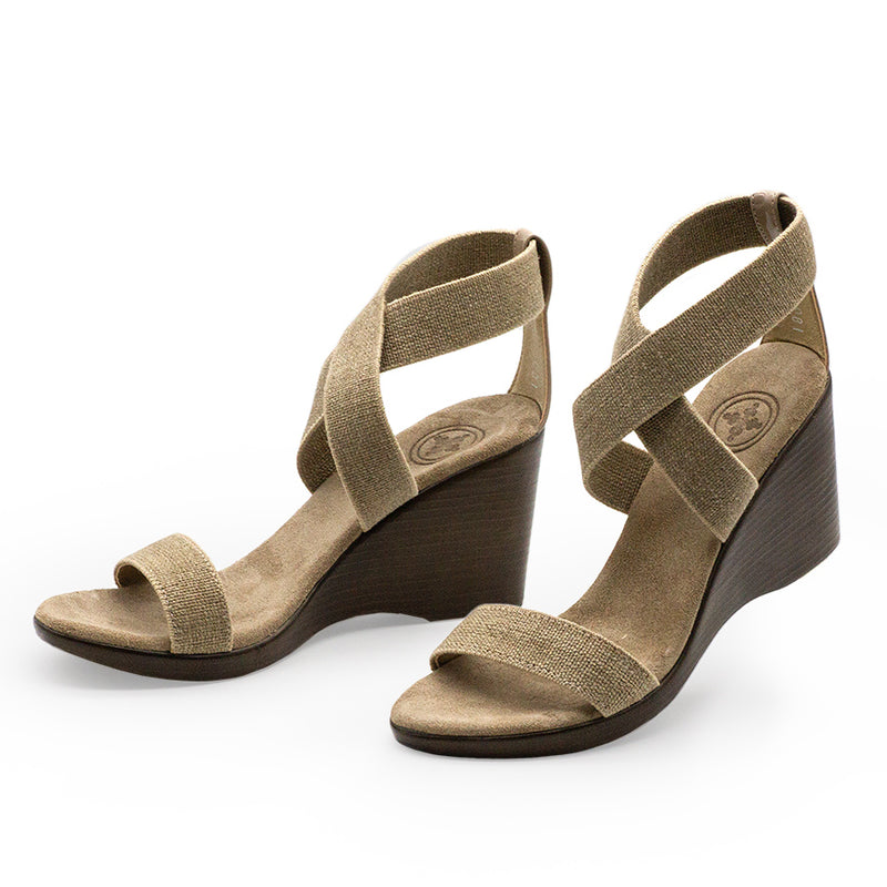 Linen elastic fabric sandal wedges shoes