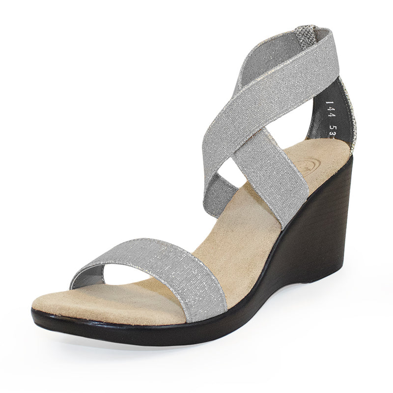 Silver strappy wedges for women