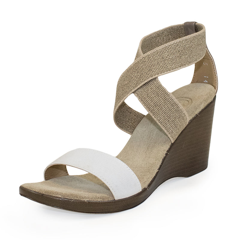 Linen tan white wedge heel sandals