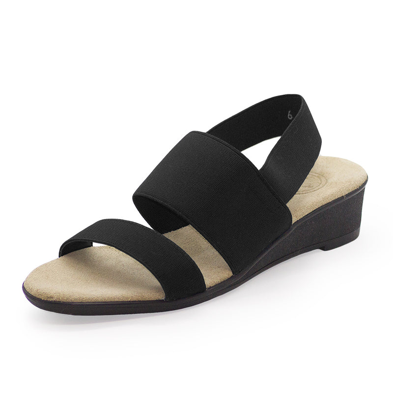 Black strappy fabric sandal wedge