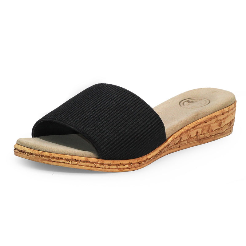 black stretch fabric flat womens sandals  | Charleston Shoe Co