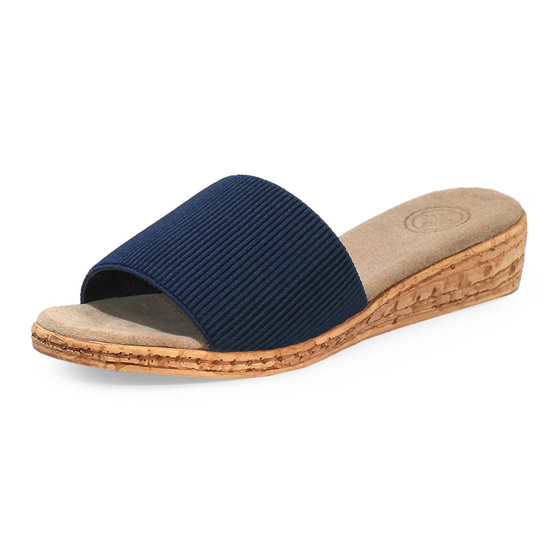 navy single strap womens slide sandals  | Charleston Shoe Co