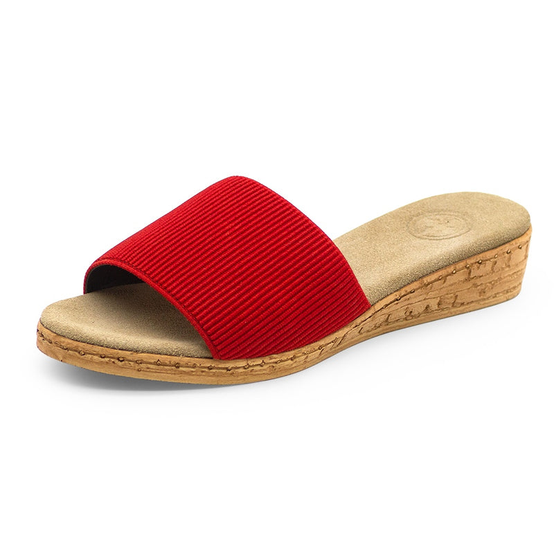 womens red slippers slide on flat comfortable sandals  | Charleston Shoe Co