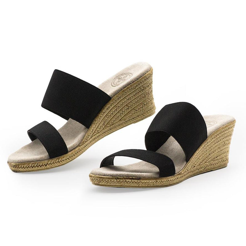 Black backless espadrille wedges shoes
