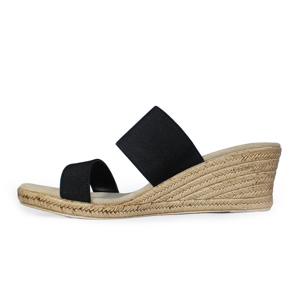 Backless Cooper - black wedges sandals - shoe wedges | Charleston Shoe Company