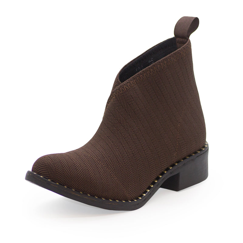 Brown ankle boots gold studs