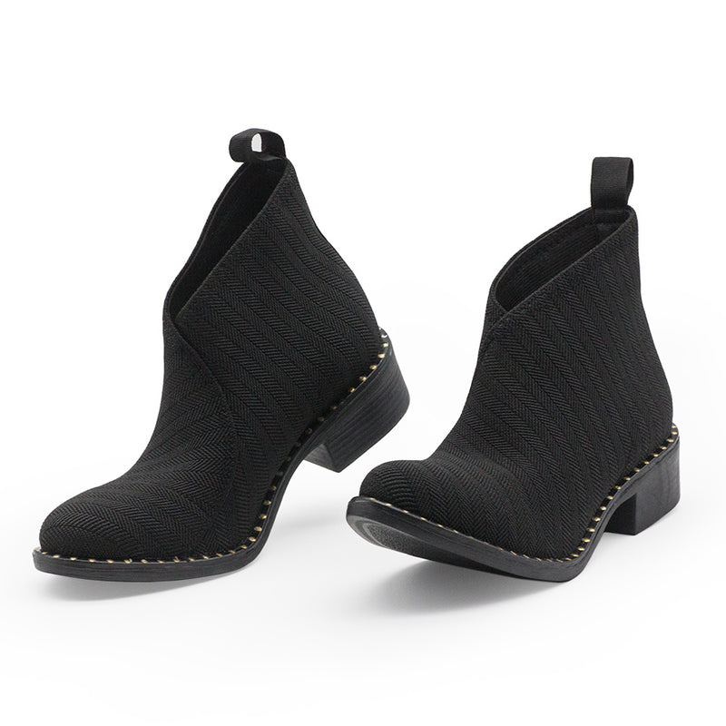 Black studded ankle booties, black pattern gold stud boots