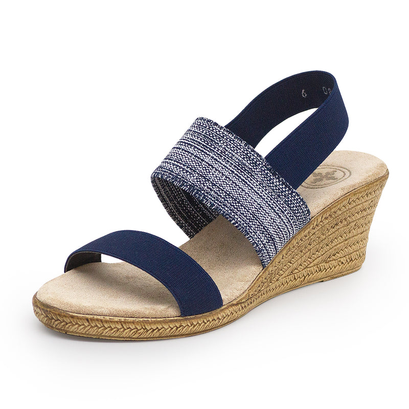 Cooper, denim navy blue sandal wedge | Charleston Shoe Company