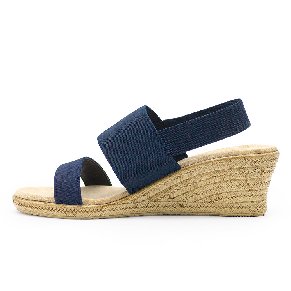 Cooper side view, navy wedge | Charleston Shoe Company