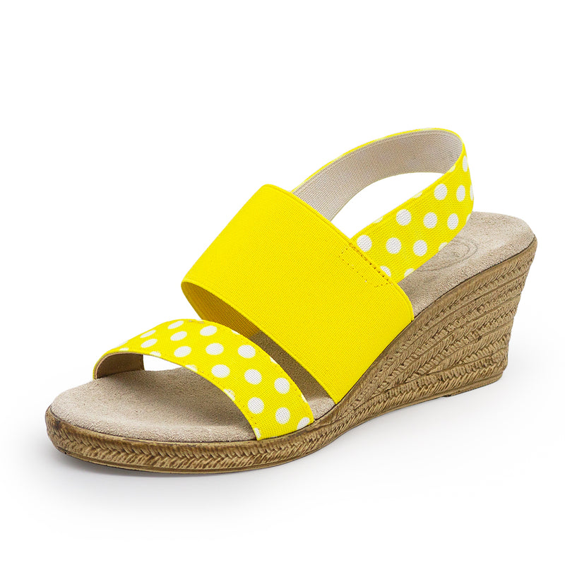 Cooper, polkadot yellow wedges | Charleston Shoe Company