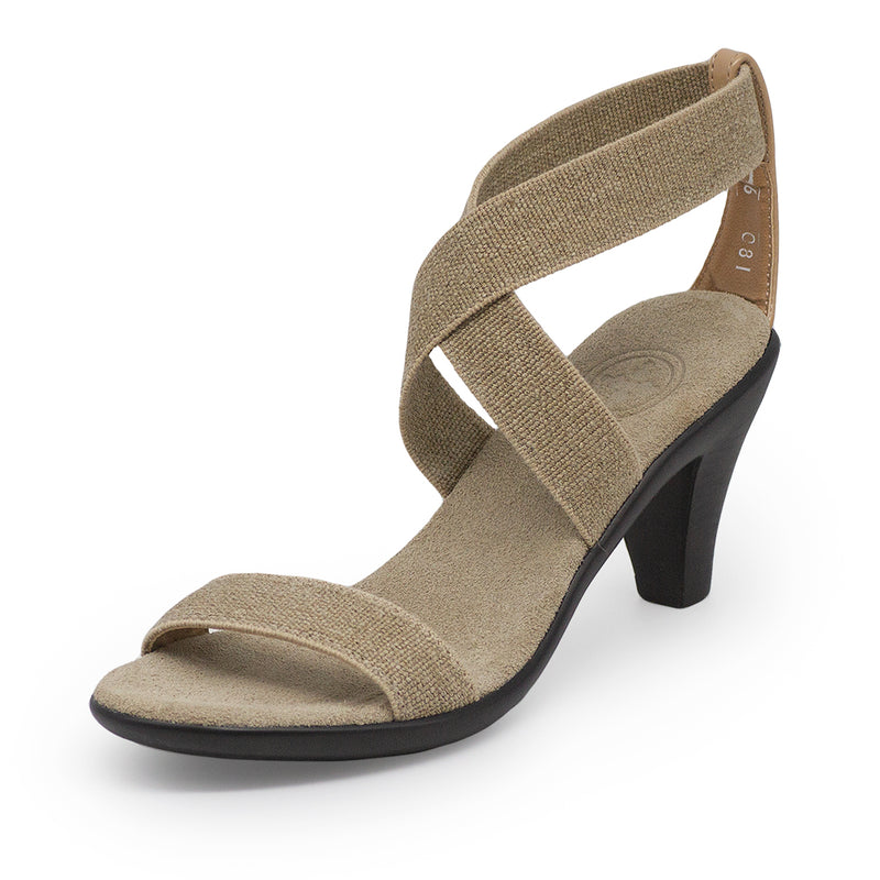 Fairchild, tan heels, linen heels | Charleston Shoe Company