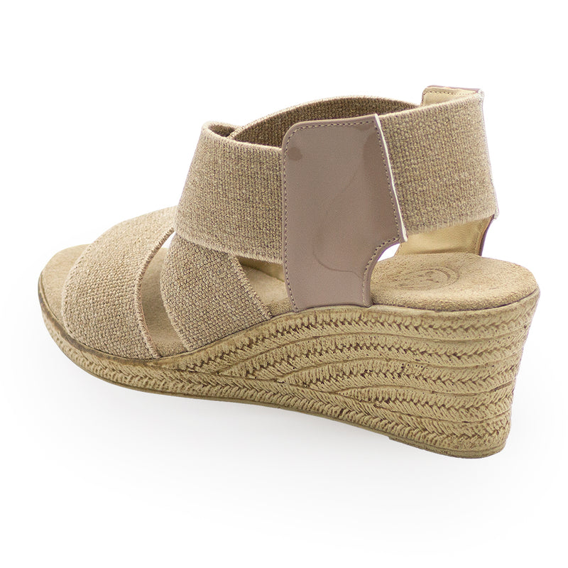 Highlands back view, tan wedge sandals - Charleston Shoe Company