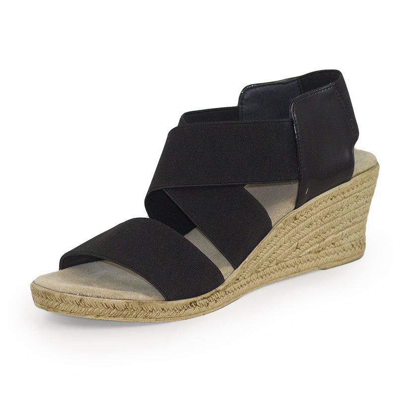 Highlands, black wedge sandals, black sandals | Charleston Shoe Company