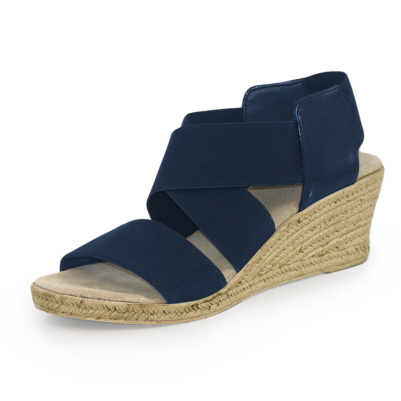 Highlands, navy blue sandals, wedges sandals | Charleston Shoe Company