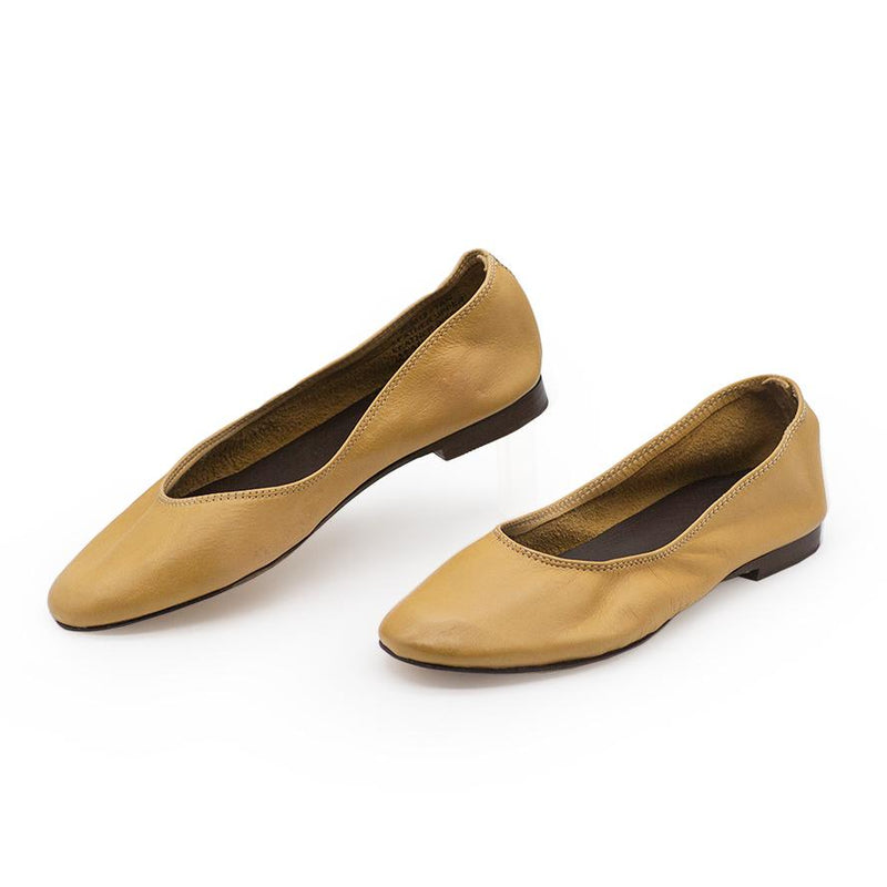 Tan Yellow leather ballet flat - Charleston Shoe Co