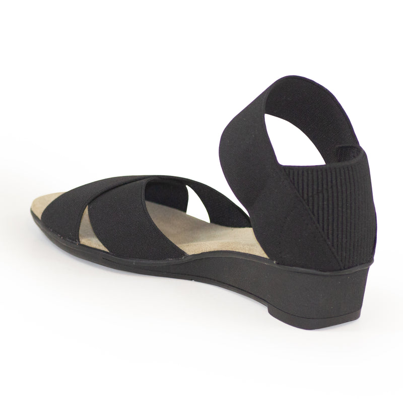 Lafayette Harrel back view, black ladies sandal wedges | Charleston Shoe Company