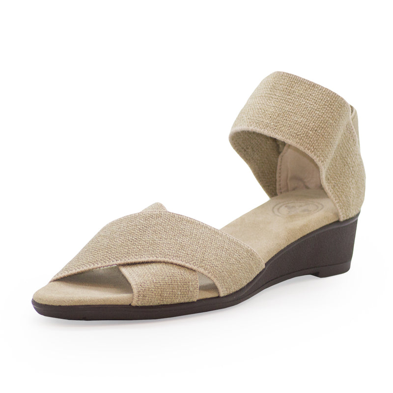 Lafayette Harrel, tan wedge sandals | Charleston Shoe Company