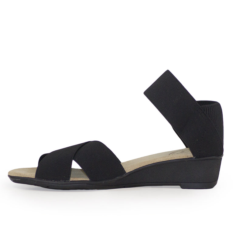 Lafayette Harrel side view, womens black sandal wedges | Charleston Shoe Company