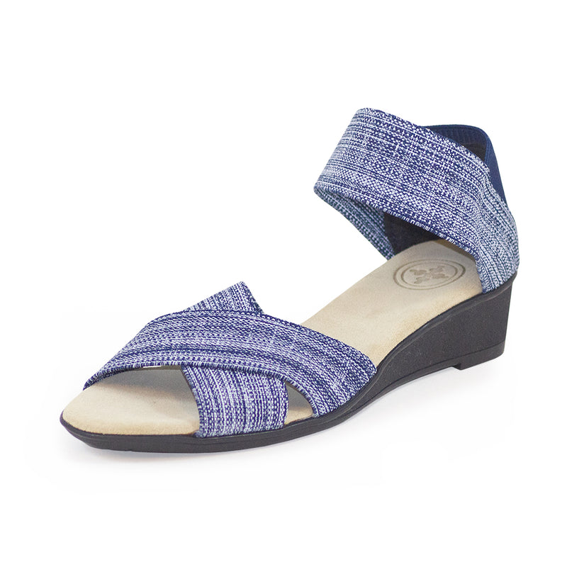 Lafayette Harrel, blue wedge heel, wedge sandals shoes | Charleston Shoe Company