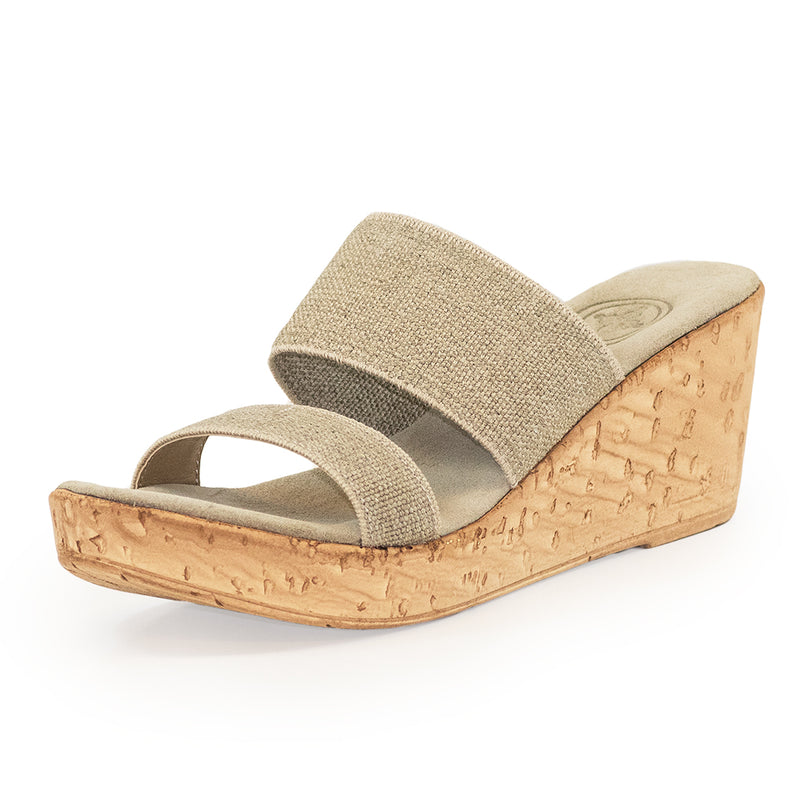 Lido, tan cork wedge sandals | Charleston Shoe Company