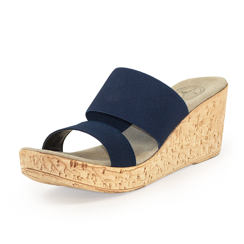 Lido, navy blue sandals, cork wedge sandals | Charleston Shoe Company