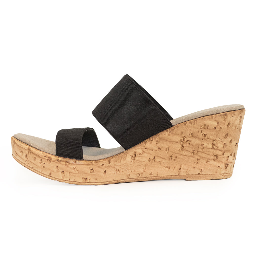 Lido side view, cork wedge sandals | Charleston Shoe Company
